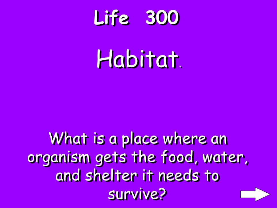Life 200 An organism that eats flesh. What are Carnivores
