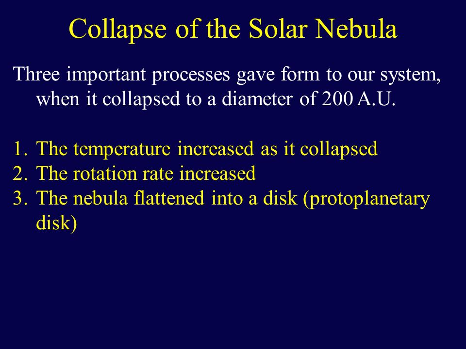 Collapse of the Solar Nebula Three important processes gave form to our system, when it collapsed to a diameter of 200 A.U. 1.The temperature increase