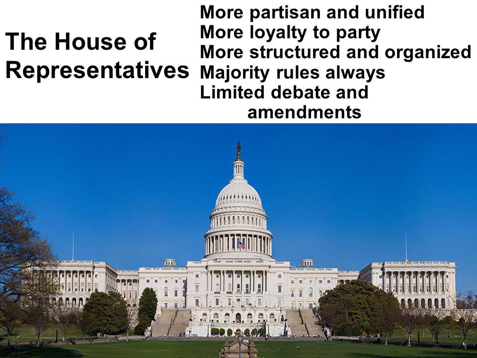 Senators more powerful individually Less party-oriented and party- dependent Looser rules of debate and amendments Minority can block the majority (the filibuster) The Senate