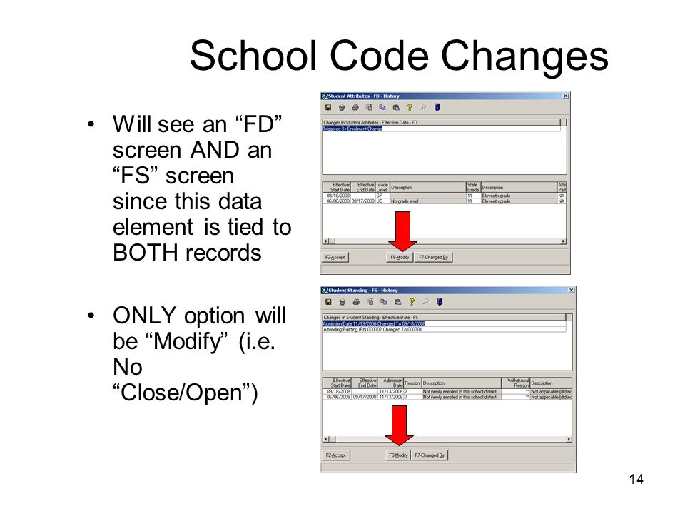 14 School Code Changes Will see an FD screen AND an FS screen since this data element is tied to BOTH records ONLY option will be Modify (i.e.