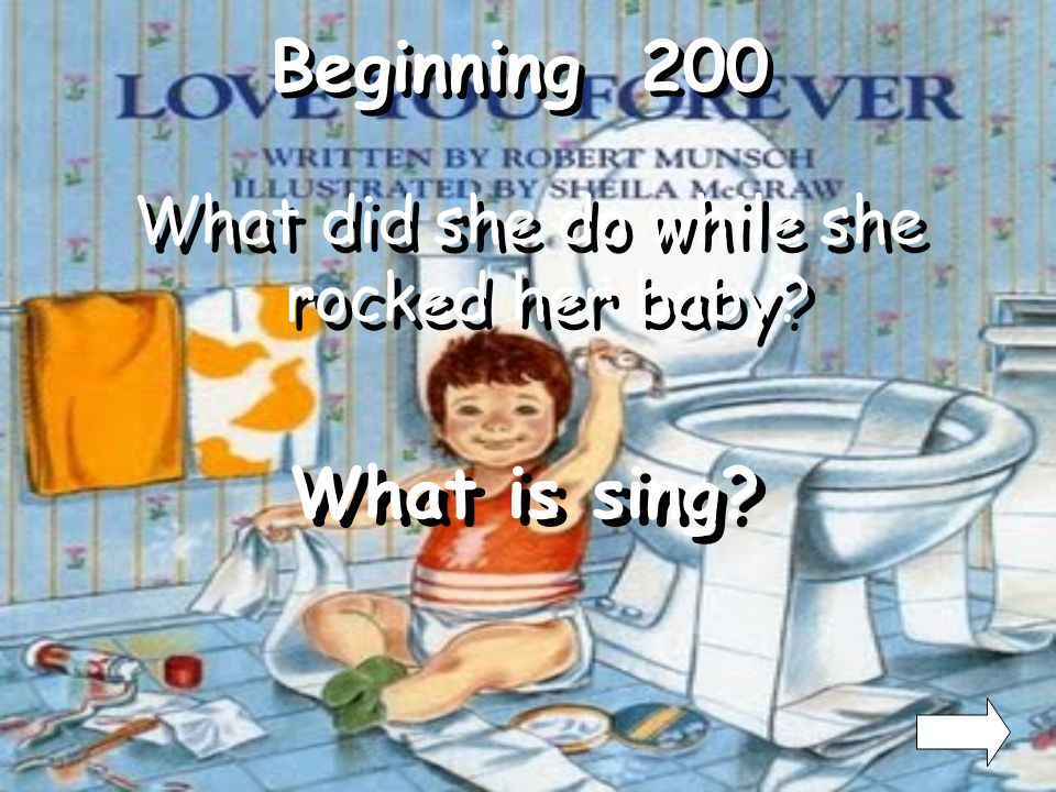 Beginning 100 How did the mother rock her baby? What is back and forth?
