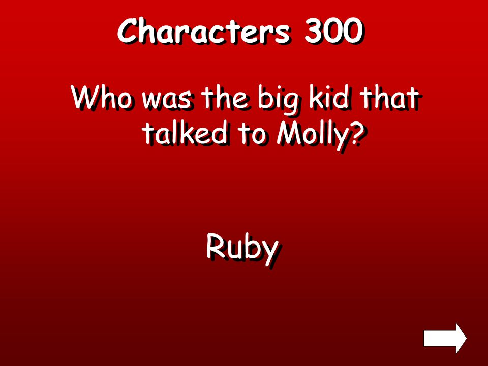 Characters 200 What was Mollys bears name? Willie