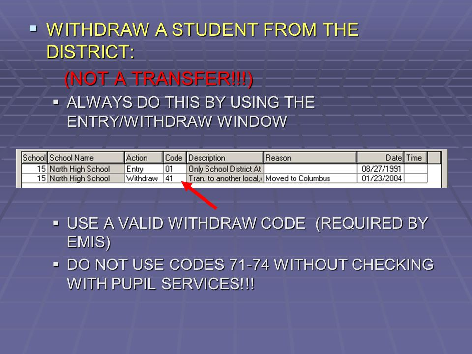 WITHDRAW A STUDENT FROM THE DISTRICT: WITHDRAW A STUDENT FROM THE DISTRICT: (NOT A TRANSFER!!!) (NOT A TRANSFER!!!) ALWAYS DO THIS BY USING THE ENTRY/WITHDRAW WINDOW ALWAYS DO THIS BY USING THE ENTRY/WITHDRAW WINDOW USE A VALID WITHDRAW CODE (REQUIRED BY EMIS) USE A VALID WITHDRAW CODE (REQUIRED BY EMIS) DO NOT USE CODES 71-74 WITHOUT CHECKING WITH PUPIL SERVICES!!.
