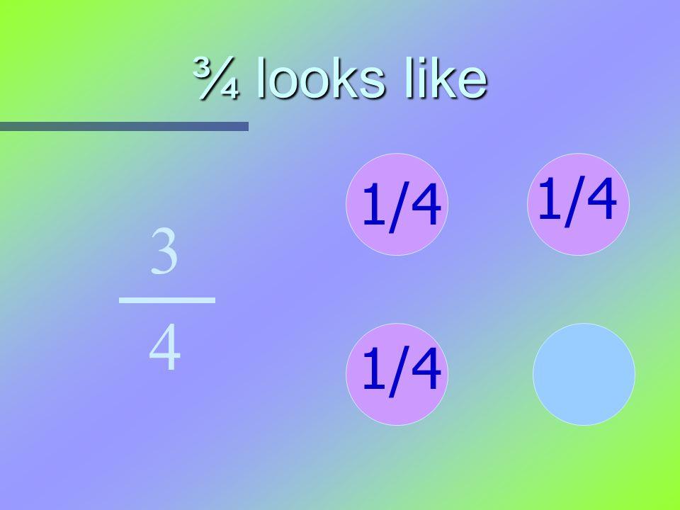 ¾ looks like 3 4 1/4