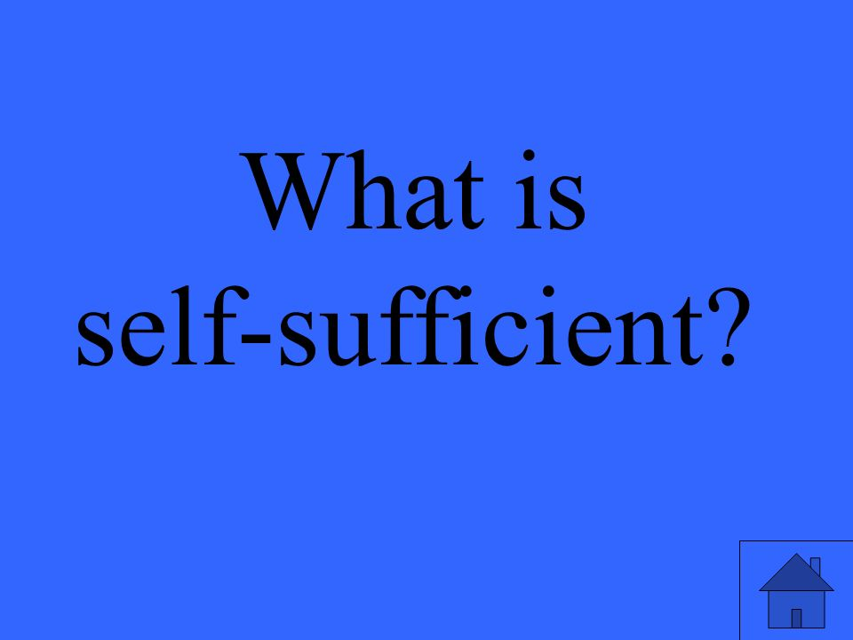 What is self-sufficient?