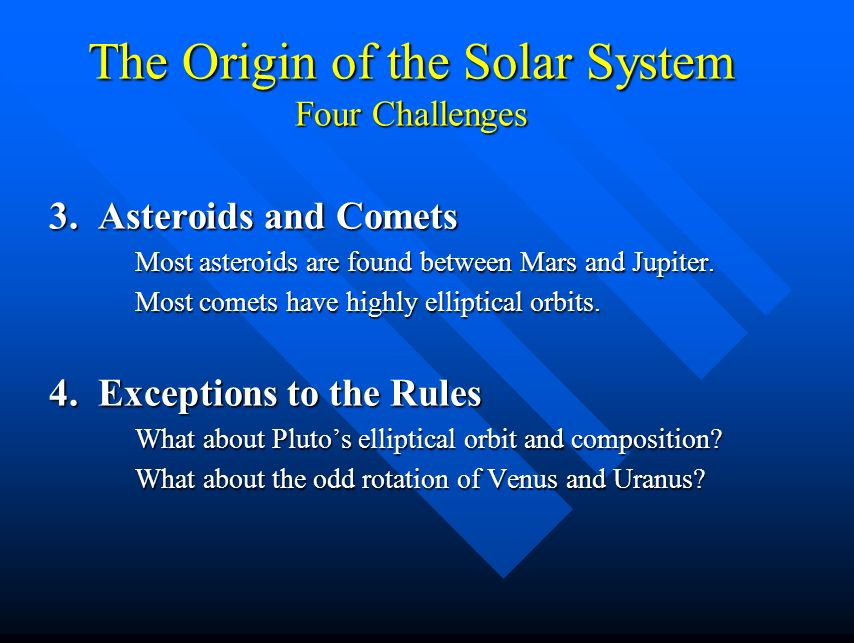 The Origin of the Solar System Four Challenges 1.