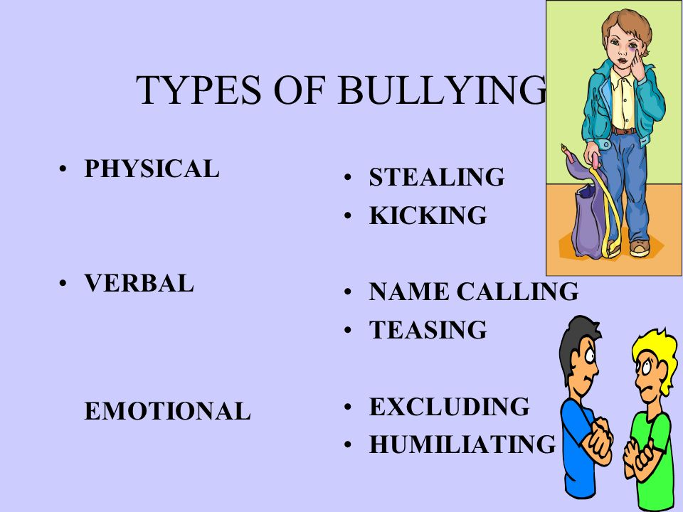 TYPES OF BULLYING PHYSICAL VERBAL EMOTIONAL STEALING KICKING NAME CALLING TEASING EXCLUDING HUMILIATING