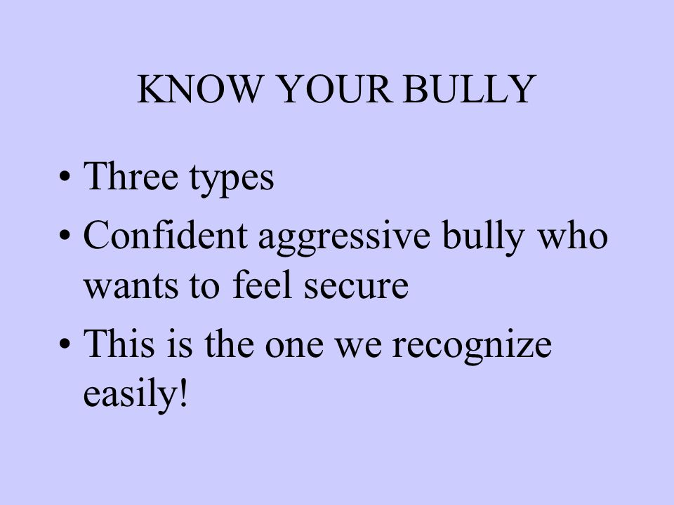 KNOW YOUR BULLY Three types Confident aggressive bully who wants to feel secure This is the one we recognize easily!