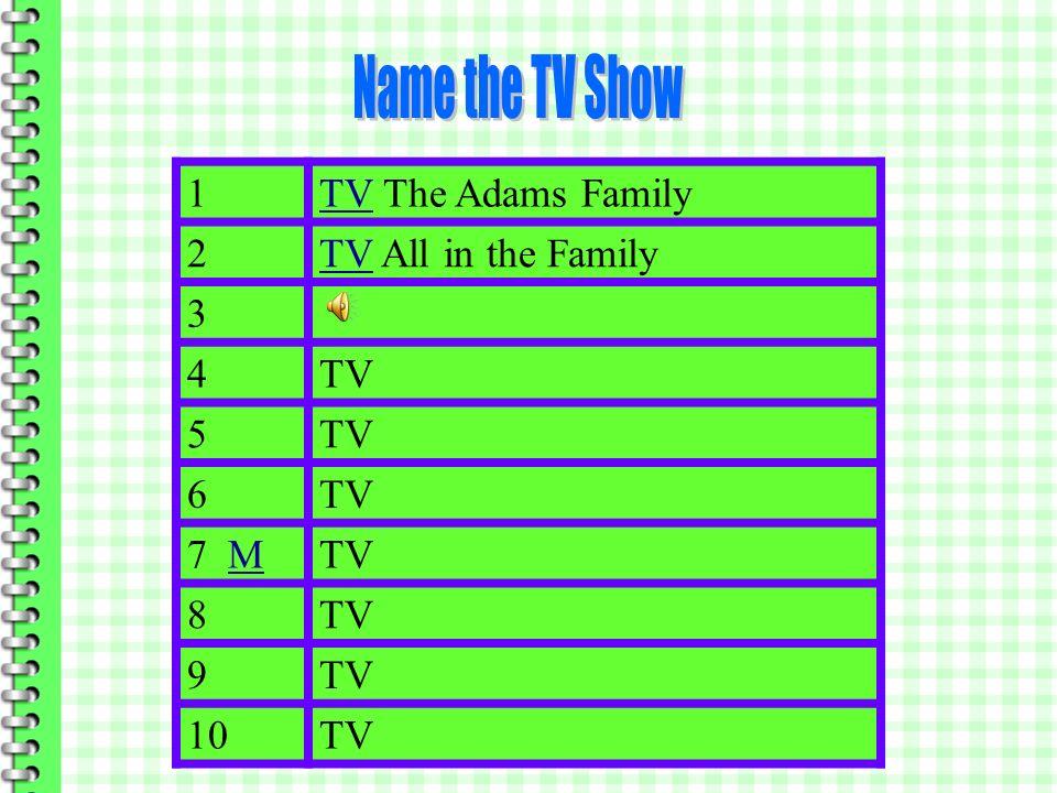 1 The Adams Family 2 3TV 4 5 6 7 MMTV 8 9 10TV