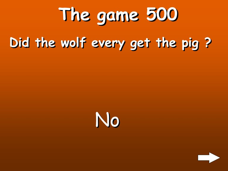 The game 400 What are some of the things the pig did to trick the wolf? He left early to the farm He tricked the wolf into running after an apple so h
