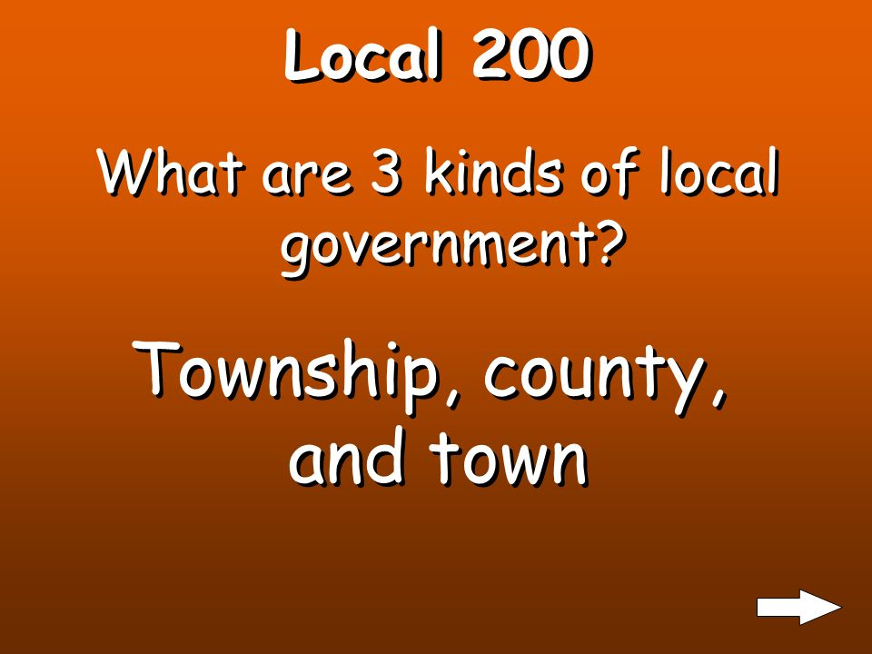 Local 100 What is an example of what is provided by your local government: takes away garbage, fixes roads, keeps you safe, builds libraries, runs buses.