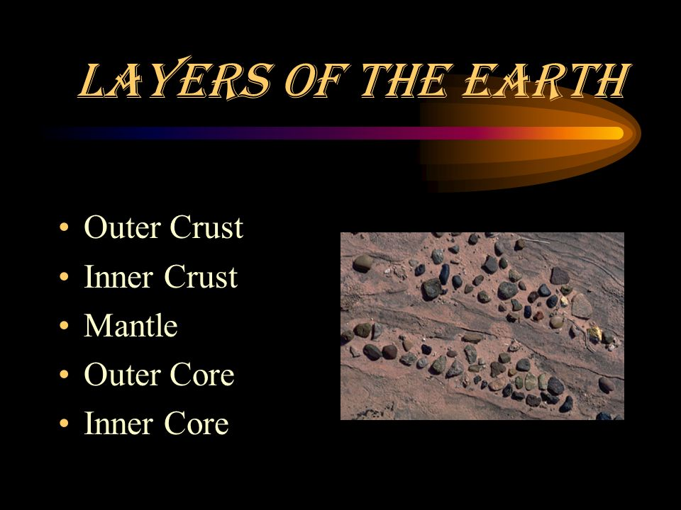 Layers of the Earth Outer Crust Inner Crust Mantle Outer Core Inner Core