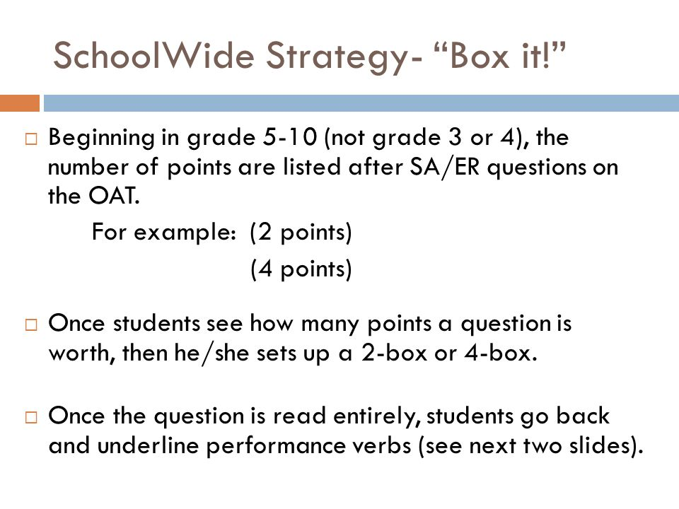Beginning in grade 5-10 (not grade 3 or 4), the number of points are listed after SA/ER questions on the OAT.