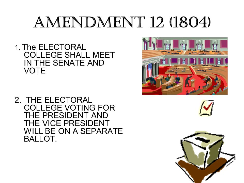AMENDMENT 12 (1804) 1. The ELECTORAL COLLEGE SHALL MEET IN THE SENATE AND VOTE 2. THE ELECTORAL COLLEGE VOTING FOR THE PRESIDENT AND THE VICE PRESIDEN