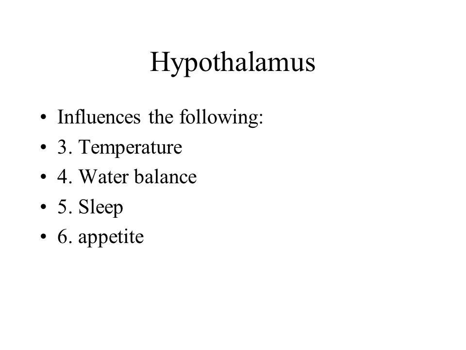 Hypothalamus Influences the following: 3. Temperature 4. Water balance 5. Sleep 6. appetite
