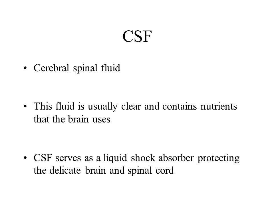 CSF Cerebral spinal fluid This fluid is usually clear and contains nutrients that the brain uses CSF serves as a liquid shock absorber protecting the