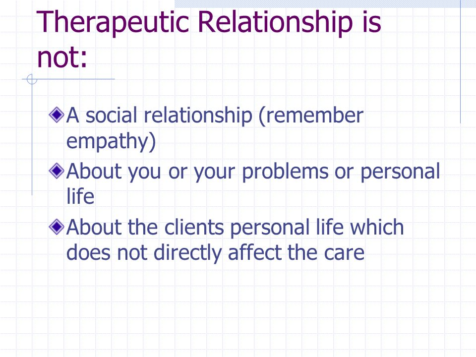 Therapeutic Relationship is not: A social relationship (remember empathy) About you or your problems or personal life About the clients personal life