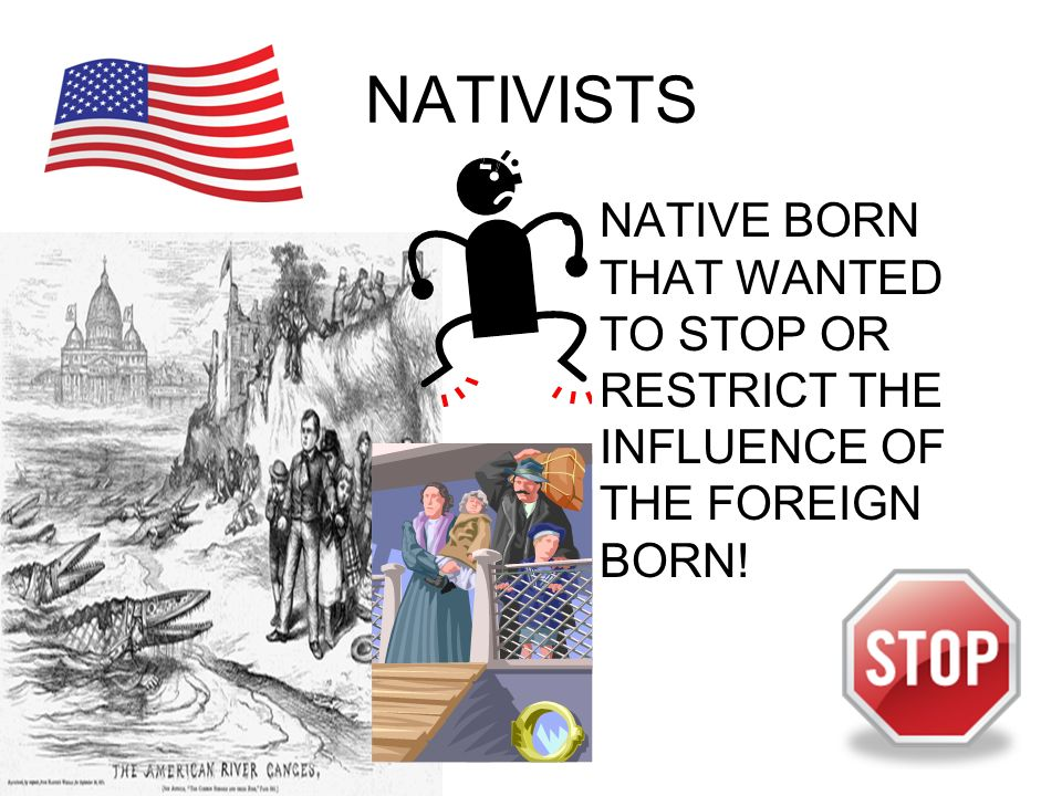 NATIVISTS NATIVE BORN THAT WANTED TO STOP OR RESTRICT THE INFLUENCE OF THE FOREIGN BORN!