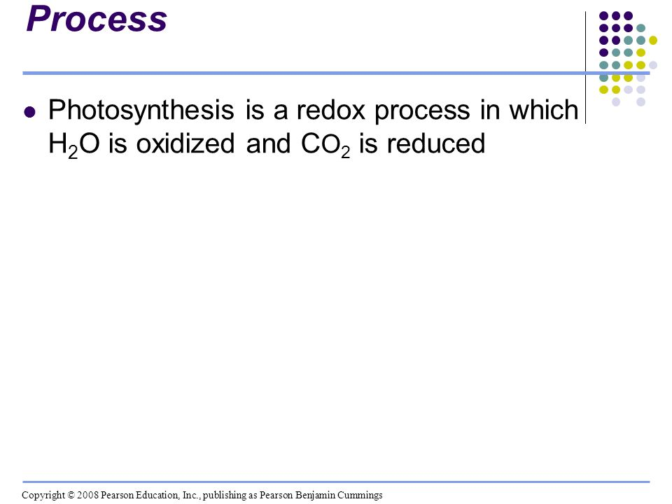 Photosynthesis as a Redox Process Photosynthesis is a redox process in which H 2 O is oxidized and C O 2 is reduced Copyright © 2008 Pearson Education