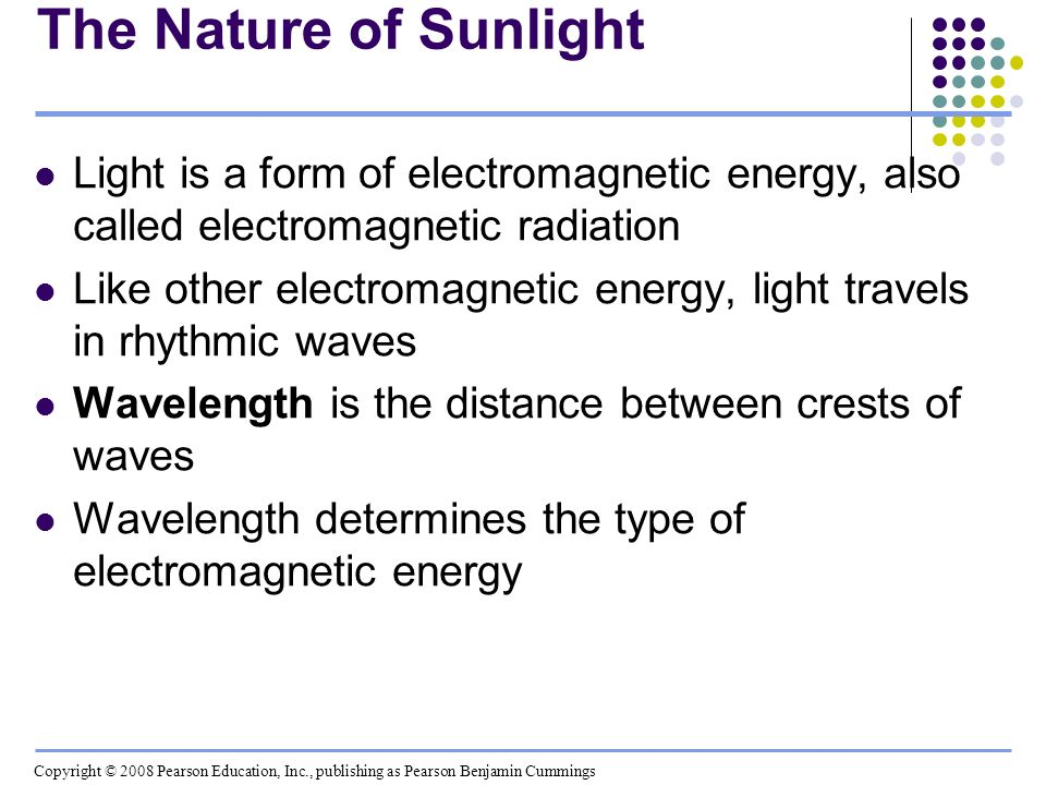 The Nature of Sunlight Light is a form of electromagnetic energy, also called electromagnetic radiation Like other electromagnetic energy, light trave