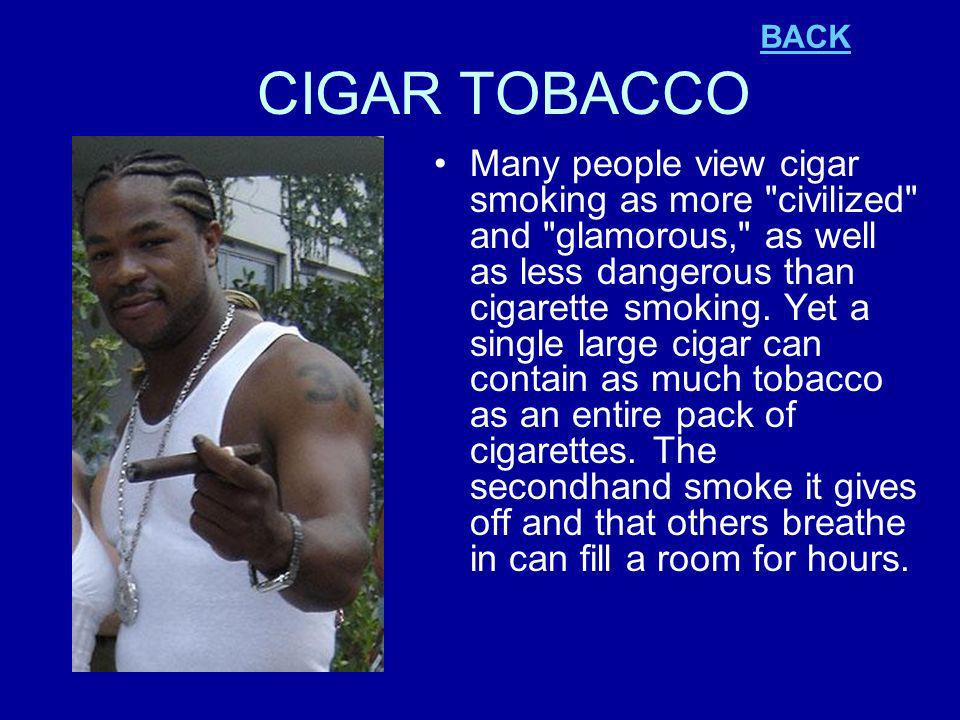 CIGAR TOBACCO Many people view cigar smoking as more civilized and glamorous, as well as less dangerous than cigarette smoking.