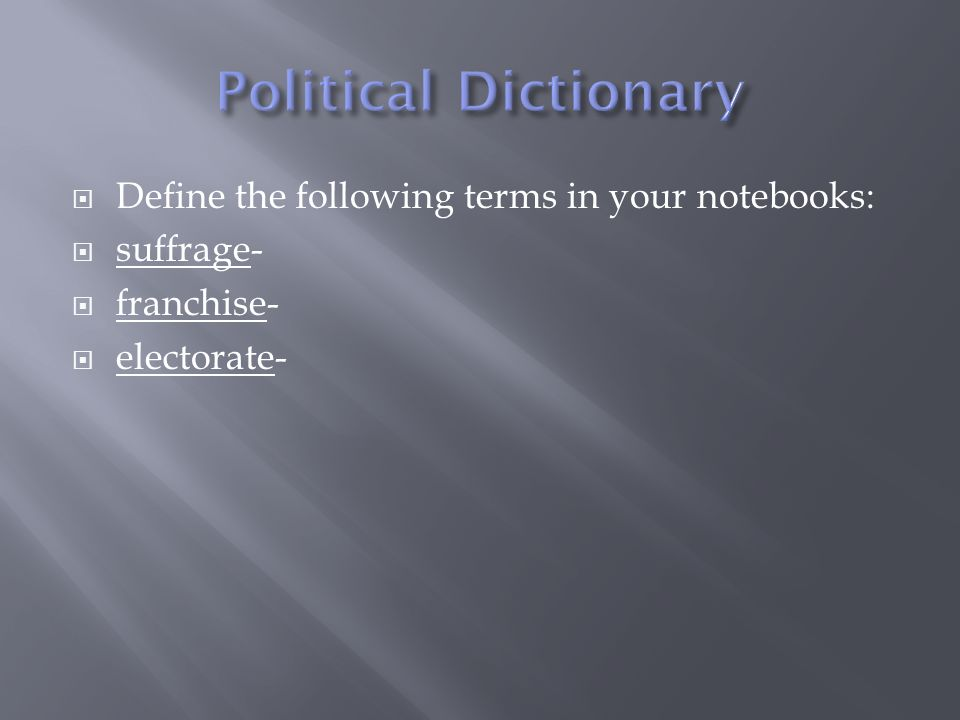 Define the following terms in your notebooks: suffrage- franchise- electorate-