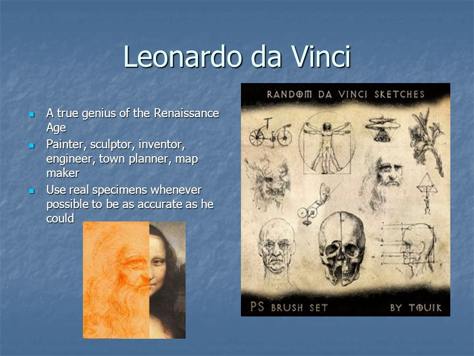 Leonardo da Vinci A true genius of the Renaissance Age A true genius of the Renaissance Age Painter, sculptor, inventor, engineer, town planner, map m