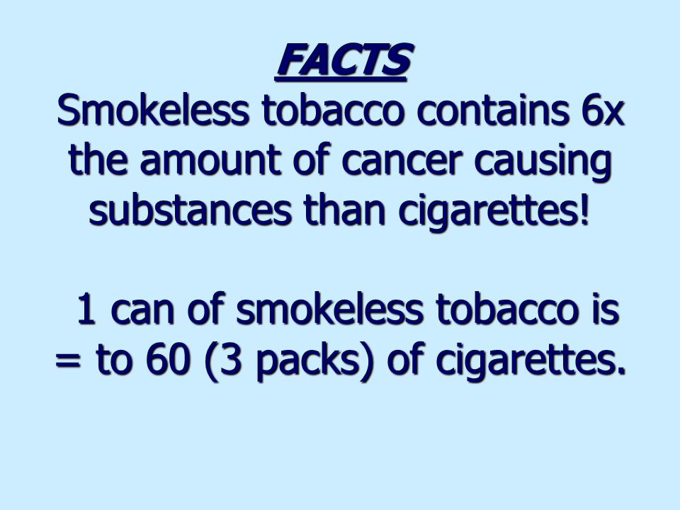 Effects of Smokeless Tobacco: Yellow teeth Bad Breath Cancer of mouth Stomach ulcers