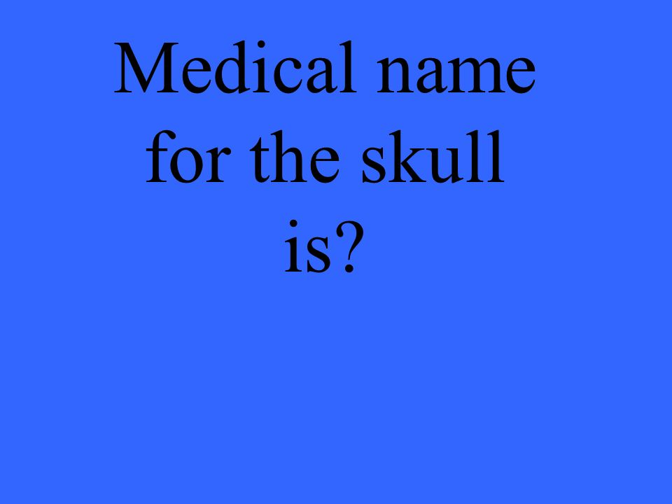 Medical name for the skull is?