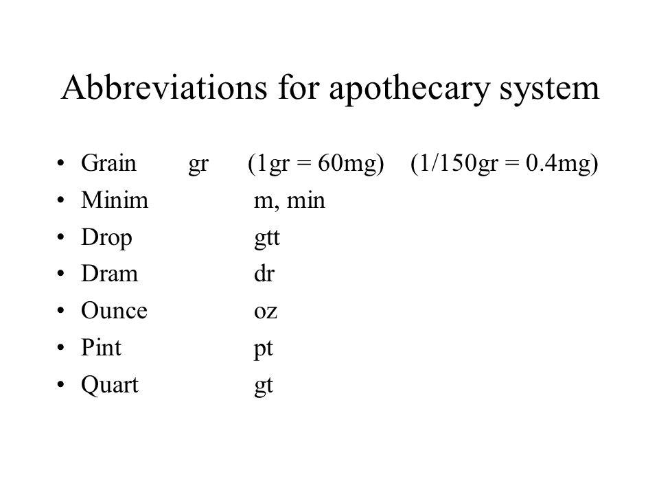 Abbreviations for apothecary system Graingr (1gr = 60mg) (1/150gr = 0.4mg) Minimm, min Dropgtt Dramdr Ounceoz Pintpt Quartgt