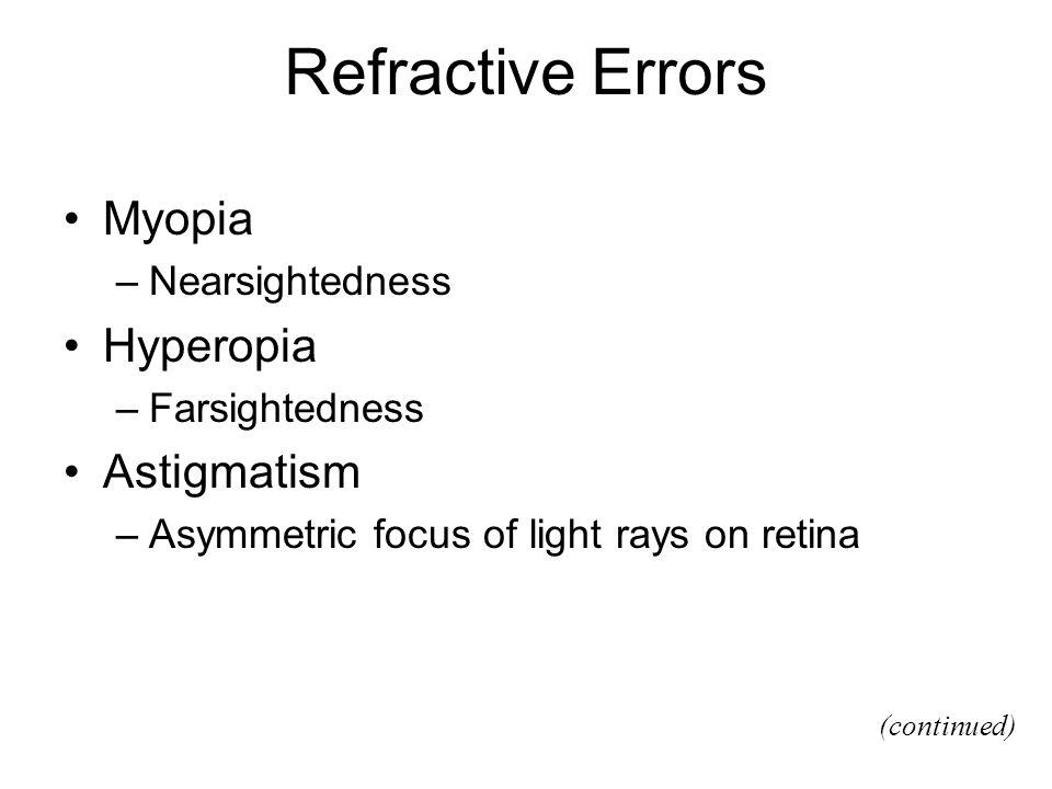 Refractive Errors Myopia –Nearsightedness Hyperopia –Farsightedness Astigmatism –Asymmetric focus of light rays on retina (continued)