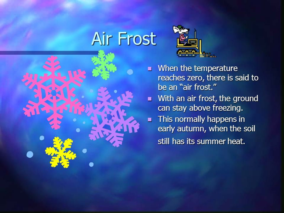 Frost Frost Frost, like snow, is the result of deposition of water in saturated air.