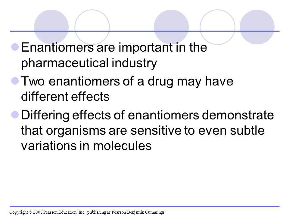 Enantiomers are important in the pharmaceutical industry Two enantiomers of a drug may have different effects Differing effects of enantiomers demonst