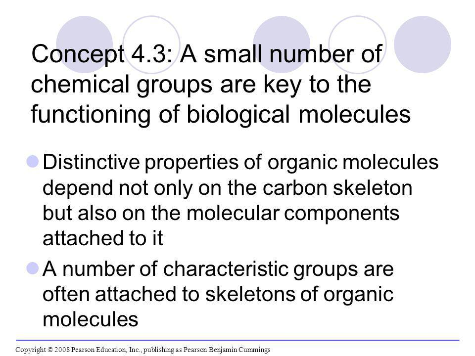 Concept 4.3: A small number of chemical groups are key to the functioning of biological molecules Distinctive properties of organic molecules depend n
