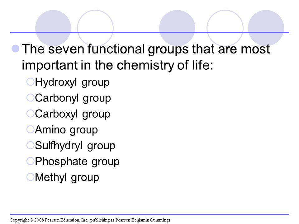 The seven functional groups that are most important in the chemistry of life: Hydroxyl group Carbonyl group Carboxyl group Amino group Sulfhydryl grou