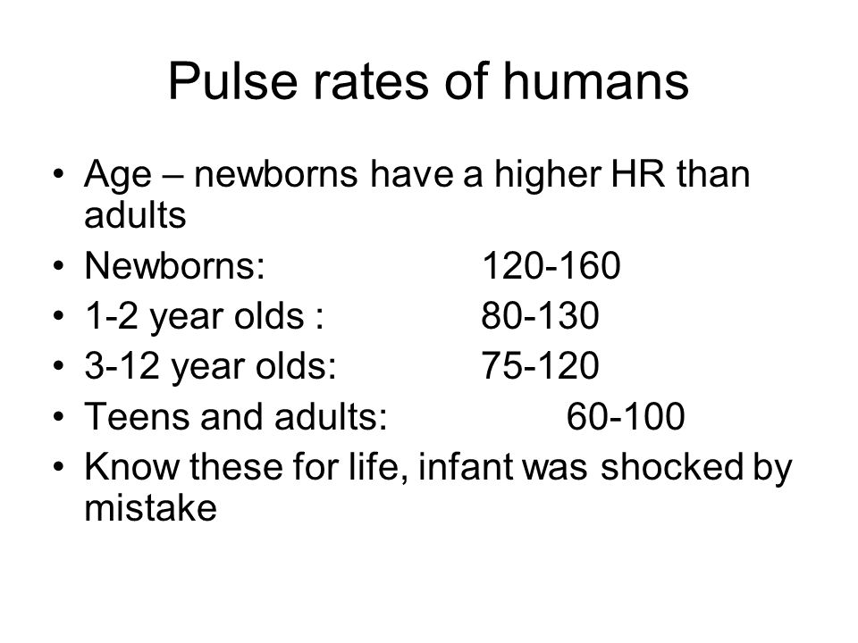 Pulse rates of humans Age – newborns have a higher HR than adults Newborns: 120-160 1-2 year olds : 80-130 3-12 year olds: 75-120 Teens and adults: 60