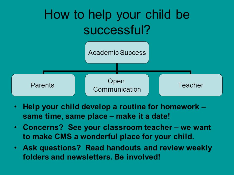 How to help your child be successful? Help your child develop a routine for homework – same time, same place – make it a date! Concerns? See your clas