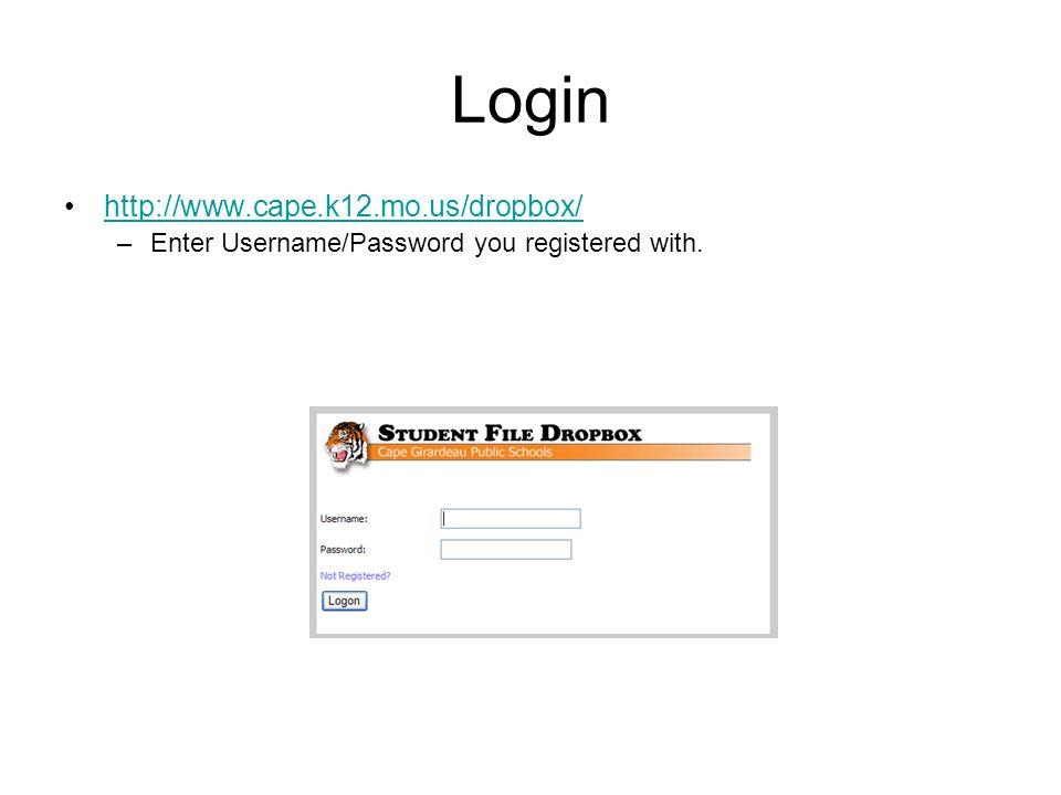 Dropbox View Overview Upload File Delete File Download File Logout Information Bars