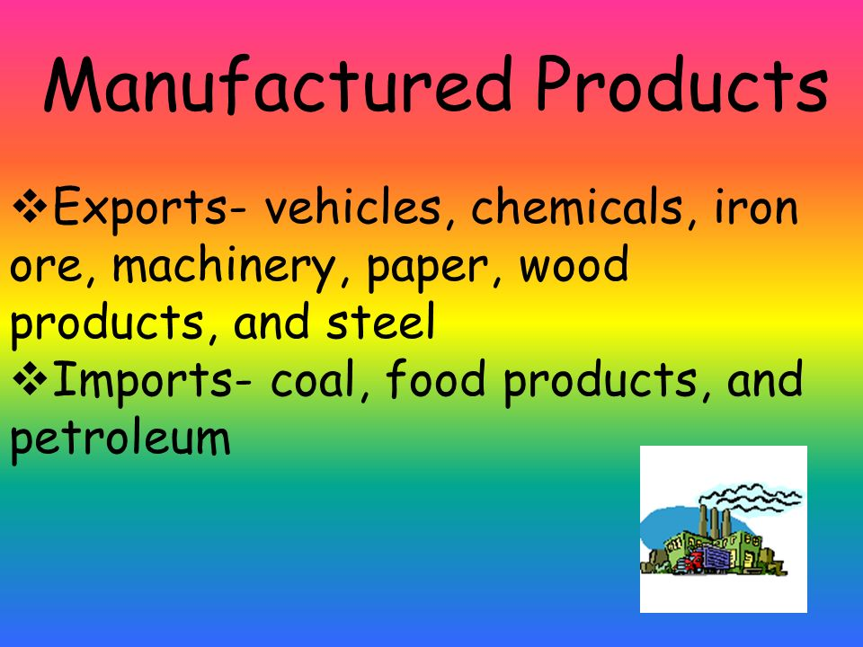 Manufactured Products Exports- vehicles, chemicals, iron ore, machinery, paper, wood products, and steel Imports- coal, food products, and petroleum