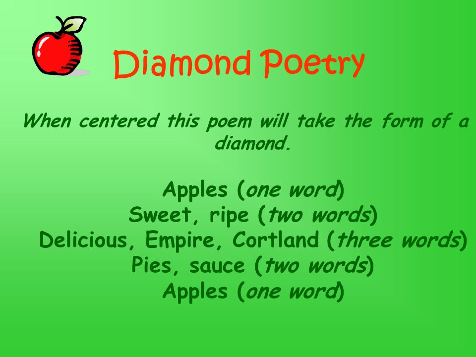Diamond Poetry When centered this poem will take the form of a diamond.