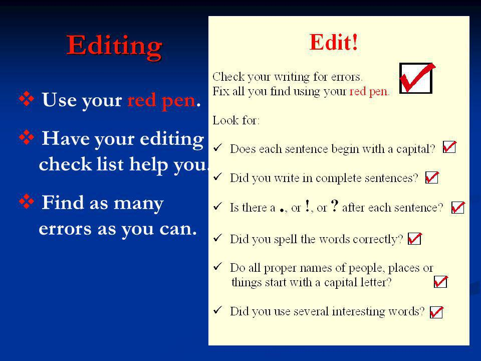 Editing Use your red pen. Have your editing check list help you. Find as many errors as you can.