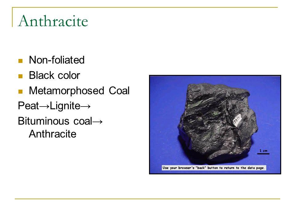 Anthracite Non-foliated Black color Metamorphosed Coal PeatLignite Bituminous coal Anthracite