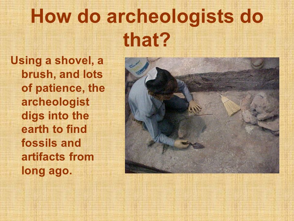 How do archeologists do that? Using a shovel, a brush, and lots of patience, the archeologist digs into the earth to find fossils and artifacts from l