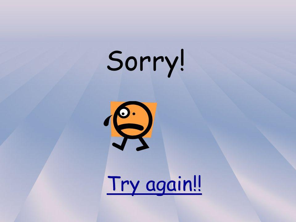Sorry! Try again!! Try again!!