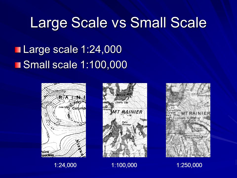 Large Scale vs Small Scale Large scale 1:24,000 Small scale 1:100,000 1:24,0001:100,0001:250,000