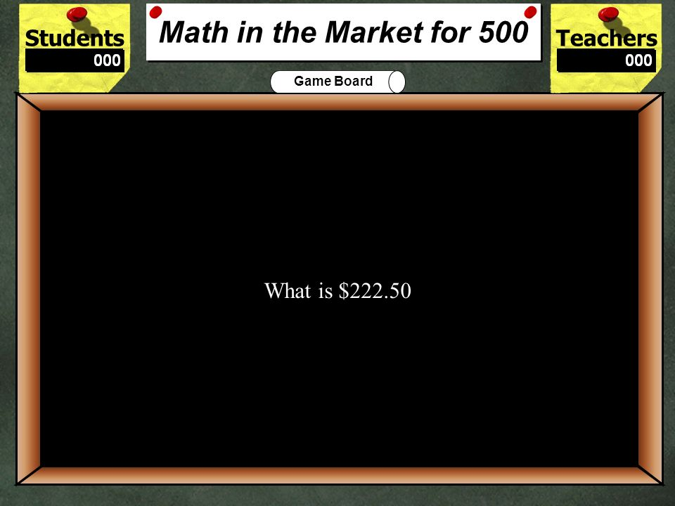 StudentsTeachers Game Board The amount of money you would make if you bought 150 shares of stock at $40 per share, then sold all 150 shares at $43.50 per share 400 What is $525.