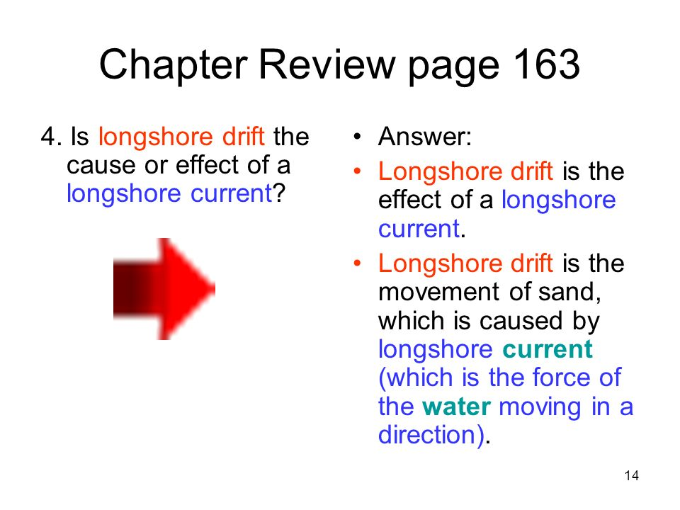 14 Chapter Review page 163 4. Is longshore drift the cause or effect of a longshore current? Answer: Longshore drift is the effect of a longshore curr