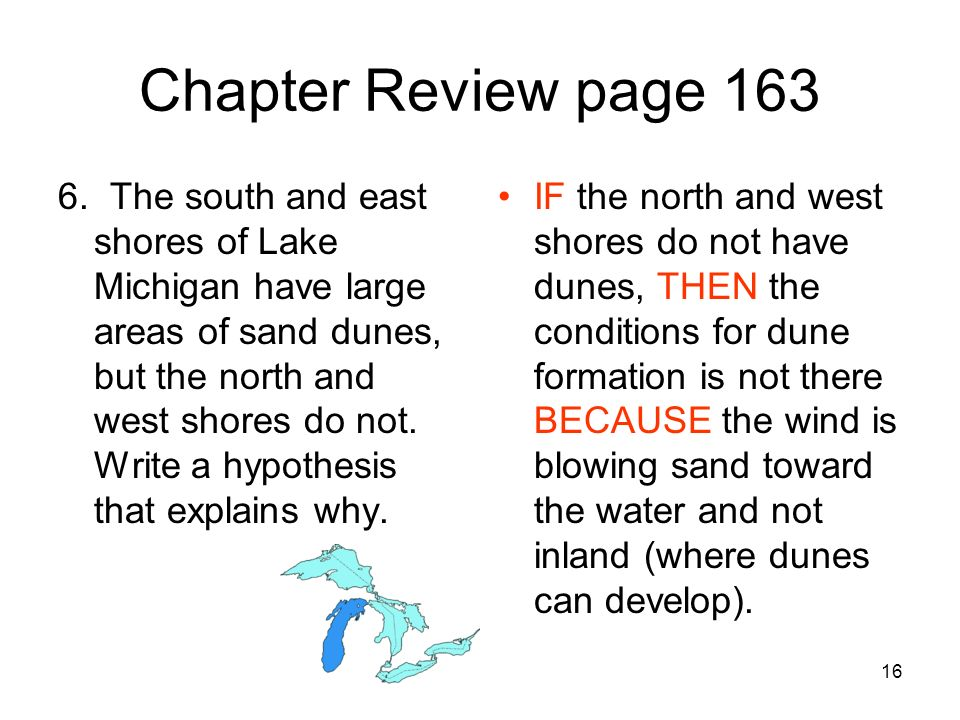 16 Chapter Review page 163 6. The south and east shores of Lake Michigan have large areas of sand dunes, but the north and west shores do not. Write a