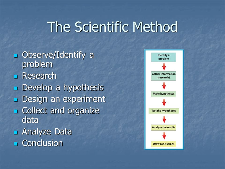 The Scientific Method Observe/Identify a problem Observe/Identify a problem Research Research Develop a hypothesis Develop a hypothesis Design an expe