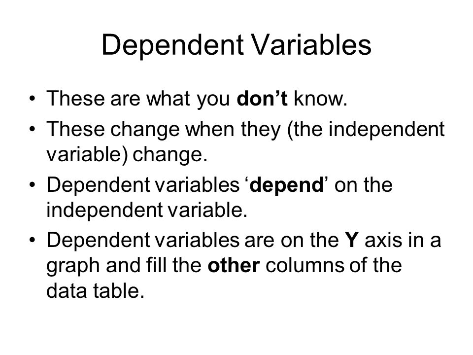 Independent Variables These are things that are known.